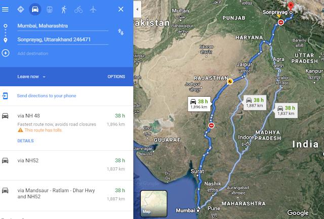 mumbai-to-kedarnath-route-map